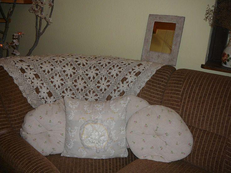 crochet blanket + shabby pillows