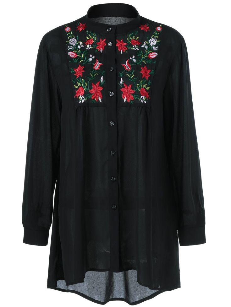 Plus Size Floral Embroidery High Low Blouse in Black | Sammydress.com