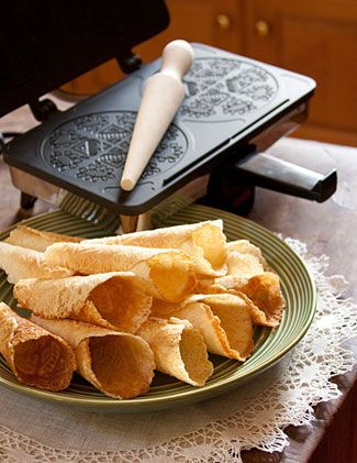 Krumkake - we used to have these for Christmas, with whipped cream and strawberries.