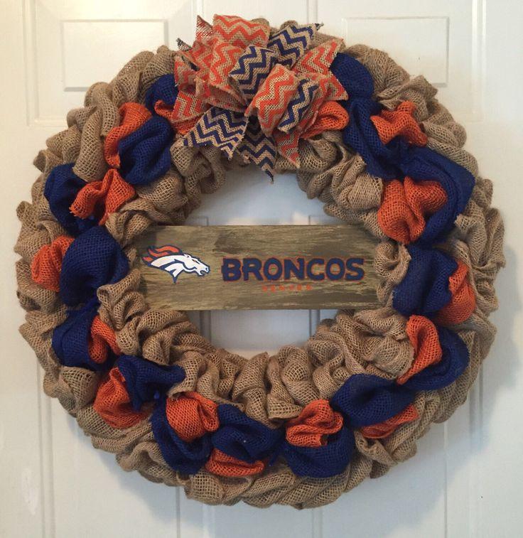 Denver Broncos wreath, Denver Broncos burlap wreath, Denver Broncos, Broncos decorations, Broncos front door wreath, orange and blue wreath by WandNDesigns on Etsy https://www.etsy.com/listing/454027046/denver-broncos-wreath-denver-broncos