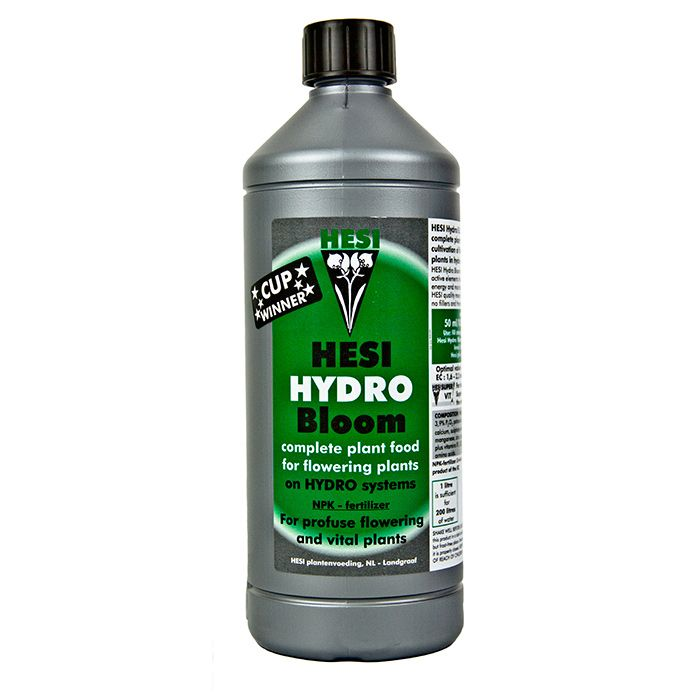 Hesi Hydro Bloom:  Hesi Hydro nutrient is an easy-to-use, one part hydroponic feed that produces reasonable results in all growing systems.  Although we would generally recommend a two-part nutrient for optimum results, Hesi is a forgiving product that is ideal for beginners and anyone looking to keep things as straightforward as possible.