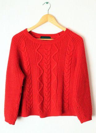 Kup mój przedmiot na #vintedpl http://www.vinted.pl/damska-odziez/bluzy-i-swetry-inne/12605322-czerwony-sweter-oversize-w-warkocz-marksspencer-piekny-hm-bershka-zara