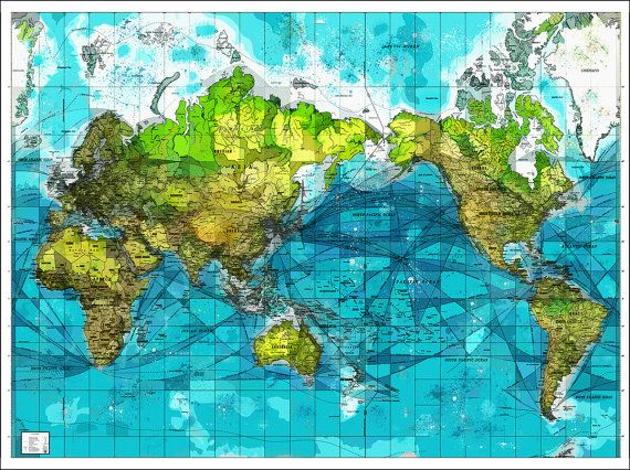 Watercolor World Map Map of the World World Map by WaterColorMaps