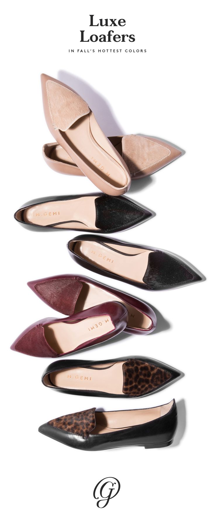 Leopard print, wine red, jet black, creamy taupe, all in smooth leather and lush calf hair. These luxe loafers with jeans and a slouchy sweater will be our fall uniform. Get ready for fall, shop our Stellato smoking slipper.