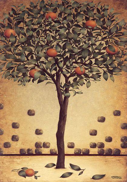 Little Orange Tree  * oil print * artist * Barbara Gerodimou * www.bizart.gr