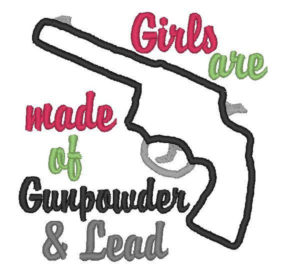 Instant download girls gun applique embroidery design