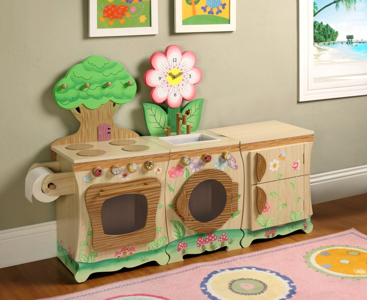 Bring fantasies of the forest, right to your very own kitchen, with Teamson's Enchanted Forest Play Kitchen. Entertaining and enchanting, play kitchen serves as a wonderful learning device as well as a great pass time for your children! Play kitchen comes in three separate pieces of a stove, fridge, and dishwasher so you can take home a favorite piece or connect together to make for an imagination filled experience.