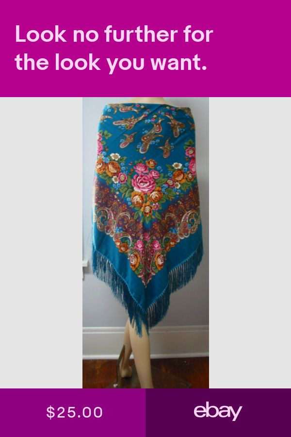 """Russian Shawl Floral w//Fringes Huge 154cm//61/""""  Sky Blue  140-7  /""""Pavlovo Style/"""""""