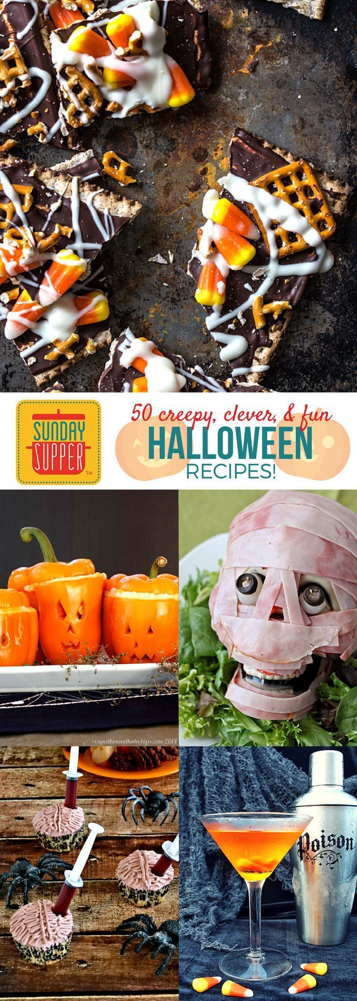 Here is a collection of FIFTY Halloween inspired dishes from the Sunday Supper crew that are sure to be an absolute hit at your ghoulish get-togethers. The entire family is going to love assembling these fiendish food items in the kitchen! Now for the fun