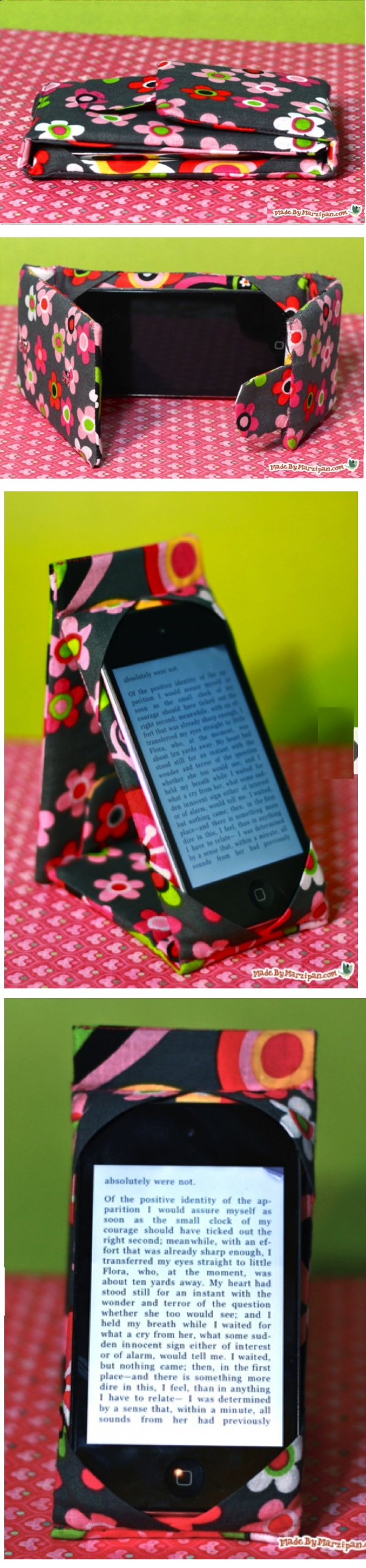 Love this idea for an ipad or iphone cover.  These would be cute with Riley Blake fabric! Great video tutorial by Made by Marzipan