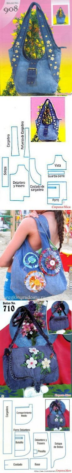 Be Inspired To Make Your Own Path With This Gorgeous: Beautiful Recycled Jeans Bag. Be Inspired To Create One Of