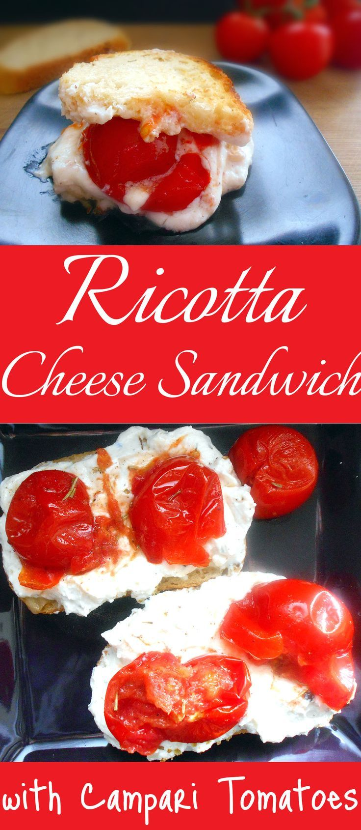 I used a vegetarian version of Ricotta Cheese for this grilled cheese recipe.  The Campari tomatoes are the perfect ingredient to this recipe.  They are sweet with only a slight tanginess.