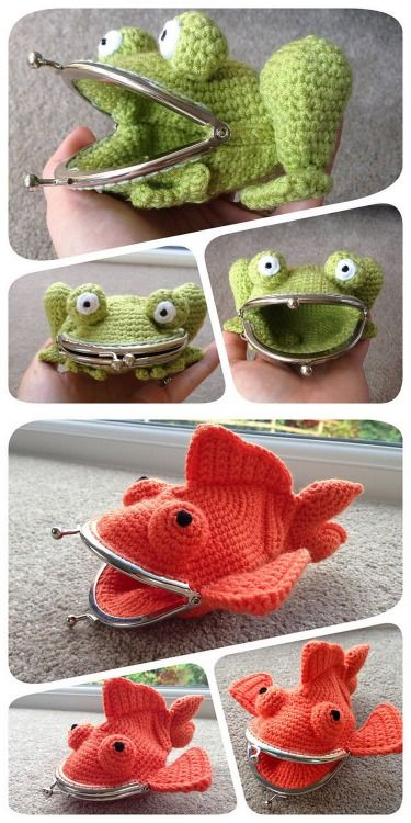 DIY Crochet Frog and Goldfish Large Coin Purses' Pattern from Laura Sutcliffe on Ravelry. $3.52 per pattern and Ravelry is a signup site with lots of free and pay patterns. First seen on inspiration & realisation's FB page. Friendly Note to Make/craftzine: When you credit a blog on Tumblr, credit the original poster and not the reblogger (I credit your blog if I saw a DIY there first). It's really easy to find the original Tumblr poster. Frog Purse Pattern Goldfish ...