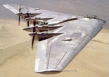 "Northrop XB-35 ""Flying Wing"" - The Northrop XB-35 and YB-35 were experimental heavy bomber aircraft developed for the United States Army Air Forces during and shortly after World War II by the Northrop Corporation. It used the radical and potentially very efficient flying wing design, in which the tail section and fuselage are eliminated and all payload is carried in a thick wing."