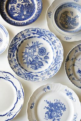 """blue and white plates (bottom right is Royal Copenhagen's """"Blue Flowers Curved"""", my own pattern!)"""
