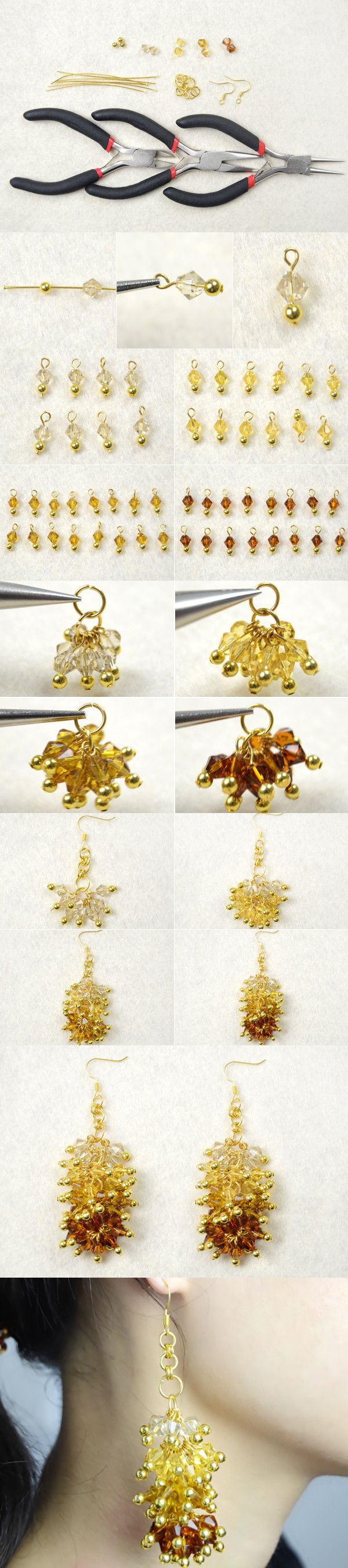 Autumn Jewelry Pattern-How to Make Ombre Crystal Cluster Earrings from LC.Pandahall.com
