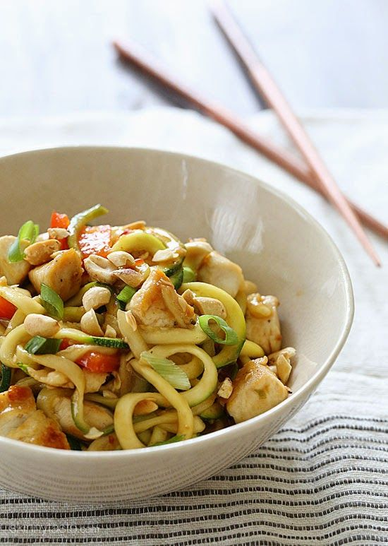 Kung Pao Chicken Zoodles For Two Servings: 2 • Size: scant 2 cups • Old Points: 6 pts • Points+: 7 pts Calories: 277 • Fat: 12 g • Protein: 24 g • Carb: 21 g • Fiber: 4 g • Sugar: 9 g Sodium: 725 mg (without salt) • Cholesterol: 62 mg