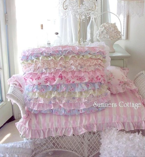 Shabby Chic Ruffled Pillow Shams : Shabby cottage colors chic petticoat ruffle pillow sham pink roses beach blue The cottage ...