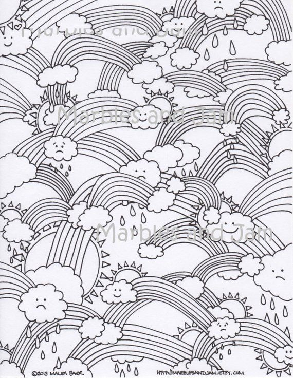 Rainbows Clouds And Sunshine Printable Adult Coloring Page