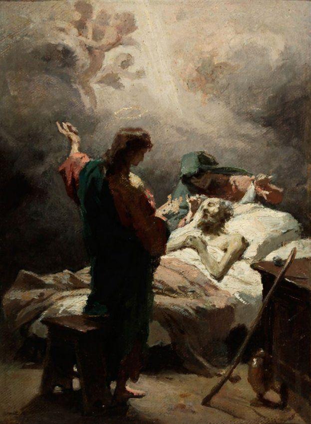 "Círculo de DOMENICO MORELLI Sain Joseph's pass away"" Second half of XIX century Oil painting on canvas cm 25,5x19"