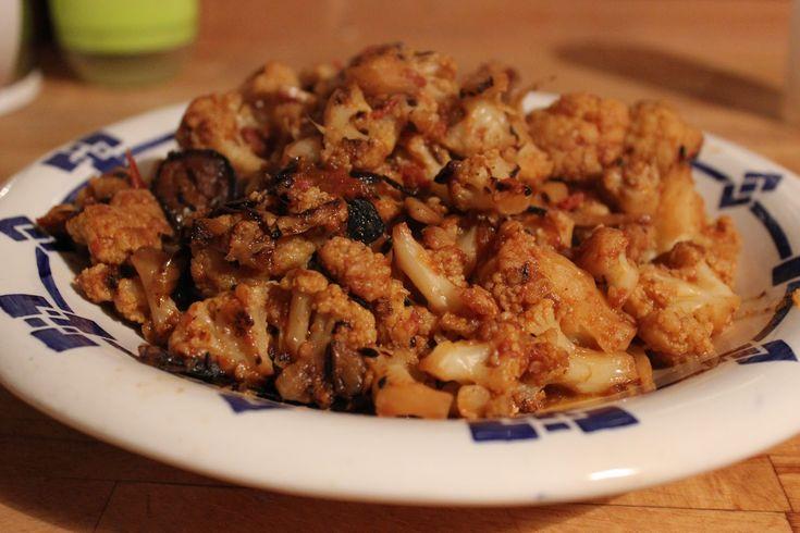 chou fleur à la marocaine (associé à un riz basmati + purée 1/2 chou-fleur et 4 topinambours).