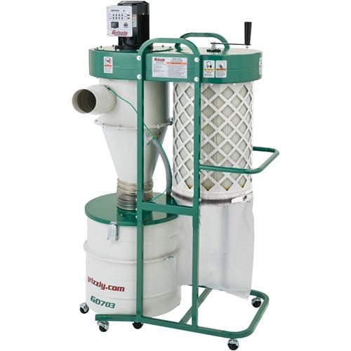1-1/2 HP 2 Stage Cyclone Dust Collector | Grizzly Industrial