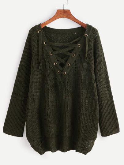 Shop Dark Green Eyelet Lace Up High Low Sweater online. SheIn offers Dark Green Eyelet Lace Up High Low Sweater & more to fit your fashionable needs.