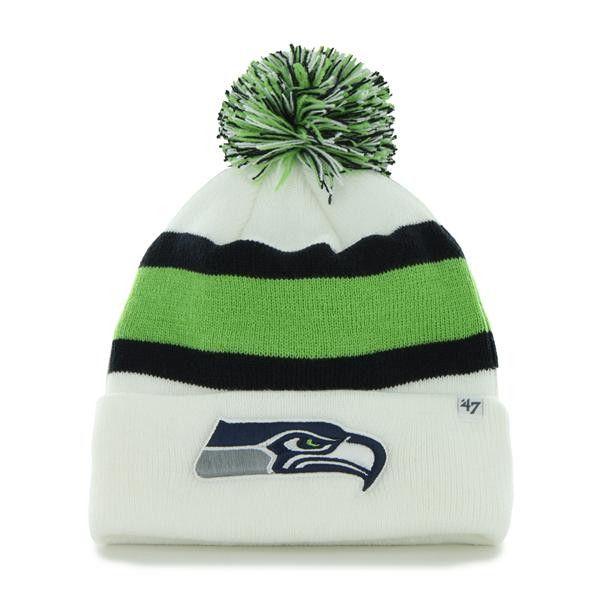 c5d424920a2 Seattle Seahawks 47 Brand White Navy Green Knit Cuff Breakaway Beanie Hat  Cap