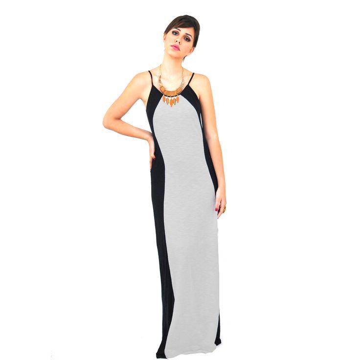 Vestido Los Angeles na malha preta e branca. Fluido e com caimento ideal para todas as mulheres. Combine com power-acessórios! Compre já: www.grege.com.br