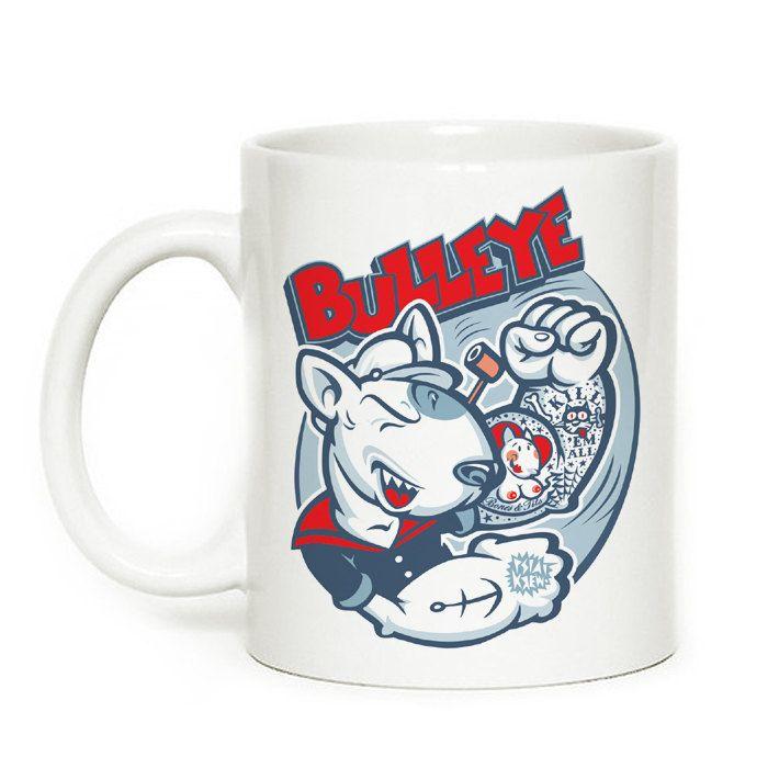 Mug with bull terrier Bulleye, Dog Bull Terrier by PSIAKREW on Etsy