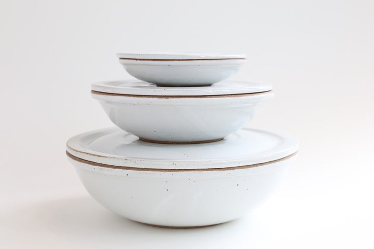 White Covered Three Bowl Set