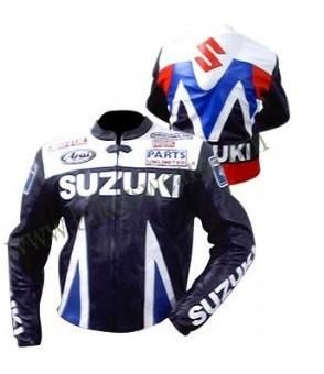 Suzuki patterned motorycle jacket with armor protection