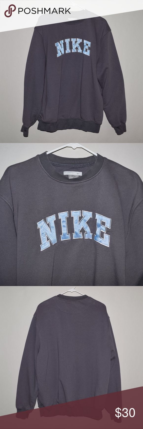 Rare Vintage Nike Spwll Out Crewneck Sweater Brand: Vintage Nike Item name: Spell Out Men's Crewneck Sweater  		 Color: Grey / Blue Condition: This is a pre-owned item. It  is in excellent used condition with no stains, rips, holes, etc. Comes from a smoke free household. Size: Medium Measurements:  Pit to Pit - 23 inches Shoulder to bottom - 29 inches Nike Sweaters Crewneck