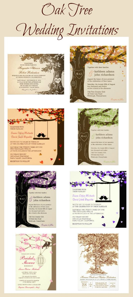 Oak Tree Wedding Invitations with lots of themes including having the couple's initials carved into the wood of the tree trunk.  Rustic Wedding Invitations http://custom-personalized-wedding-invitations.com/oak-tree-wedding-invitations/