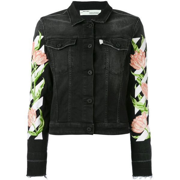Off-White floral sleeve denim jacket ($1,146) ❤ liked on Polyvore featuring outerwear, jackets, black, floral jean jackets, flower print jacket, floral jacket, denim jacket and off white jacket