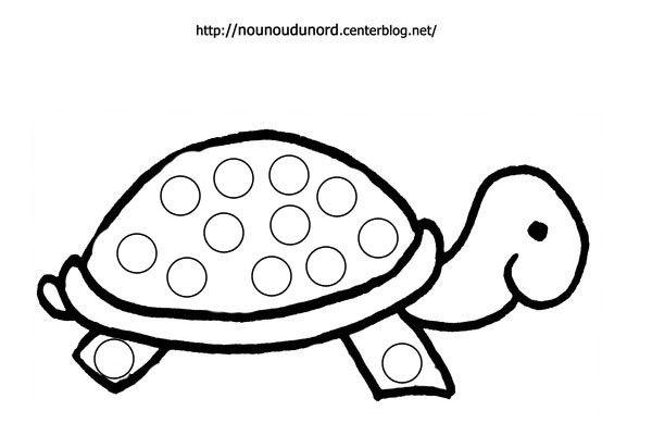 Coloriage à gommettes la tortue dessiné par nounoudunord.