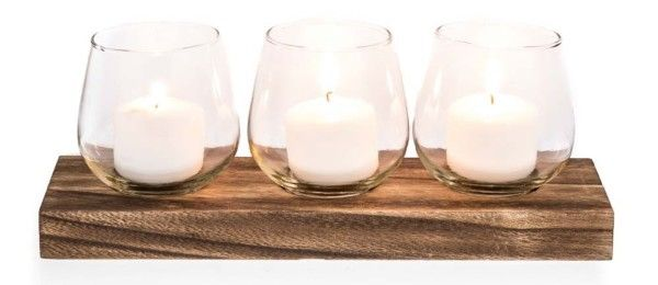Wooden Tea Lite Holder With 3 Glass Cups WEDDING DECORATIONS FOR HIRE AUSTRALIA WIDE (www.bwdecor.com.au) #weddingdecorations
