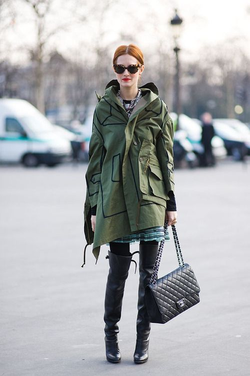 Shop this look on Lookastic:  http://lookastic.com/women/looks/knee-high-boots-and-fishtail-parka-and-mini-skirt-and-longsleeve-shirt-and-crossbody-bag/2892  — Black Leather Knee High Boots  — Dark Green Fishtail Parka  — Blue Horizontal Striped Mini Skirt  — Black and White Long Sleeve T-shirt  — Black Leather Crossbody Bag