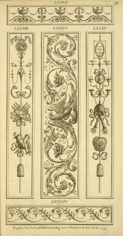 [Central ornamental design of eagle with vegetal shapes.]