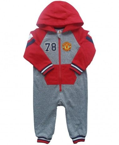 Manchester United Baby Hooded Onesie - Grey