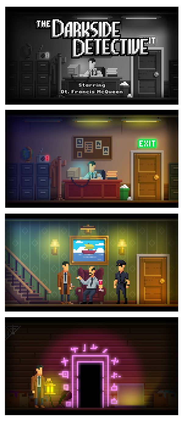 PIXEL ART STYLE IDEA: use some effects on pixels art. In this reference, lights aren't made with larges pixels, but with a blur brush