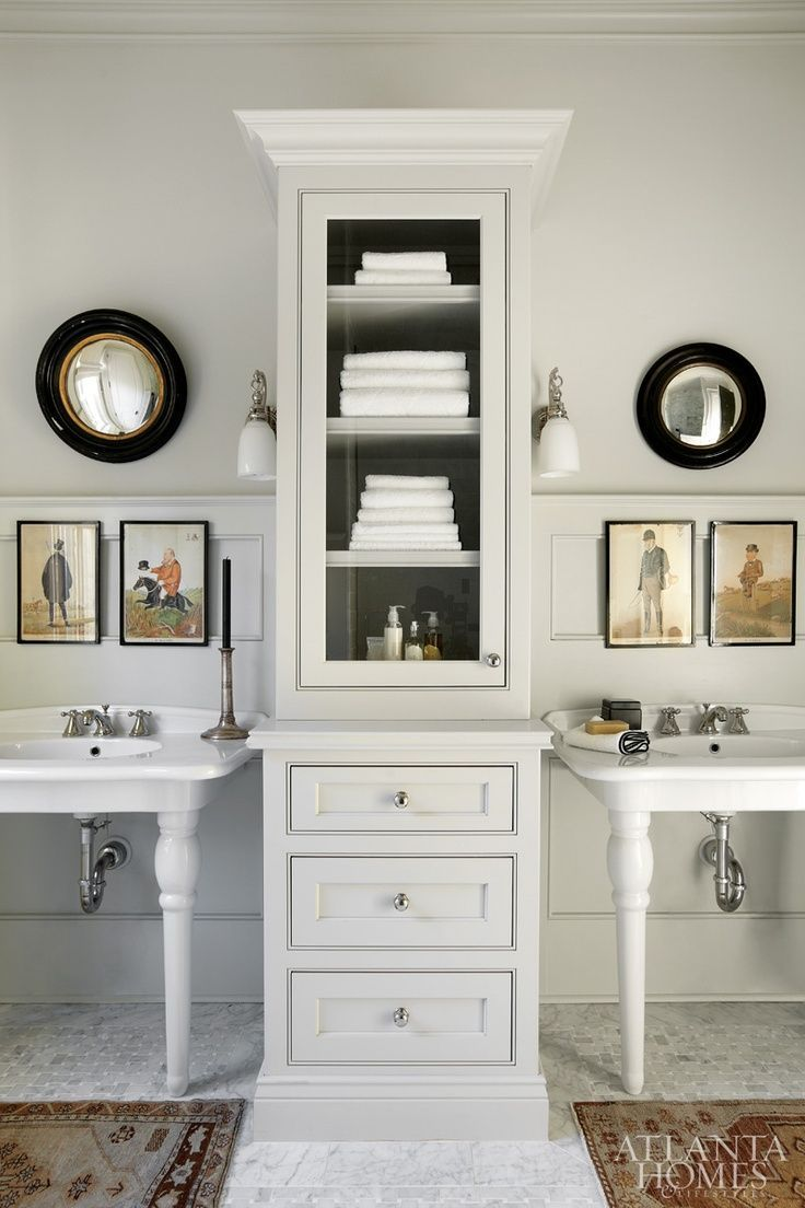 39 best sinking in images on pinterest room bathroom ideas and double pedestal sinks with tall cabinet in between for storage decorating before and after decorating bathroom design interior design design decorating