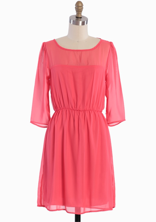 Always Sweet Chiffon Dress In Coral 42.99 at shopruche.com. A sheer neckline lends alluring charm to this vibrant coral chiffon dress complemented with three-quarter length sheer sleeves, a back button keyhole closure, and an elasticized waist for the perfect fit. Partially lined.100% Polyester, Made in...