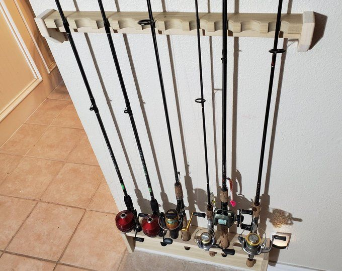 Fishing Rod Rack Ten Pole Capacity Wall Mount Tackle Holder Etsy Fishing Rod Rack Rod Rack Fishing Pole Holder