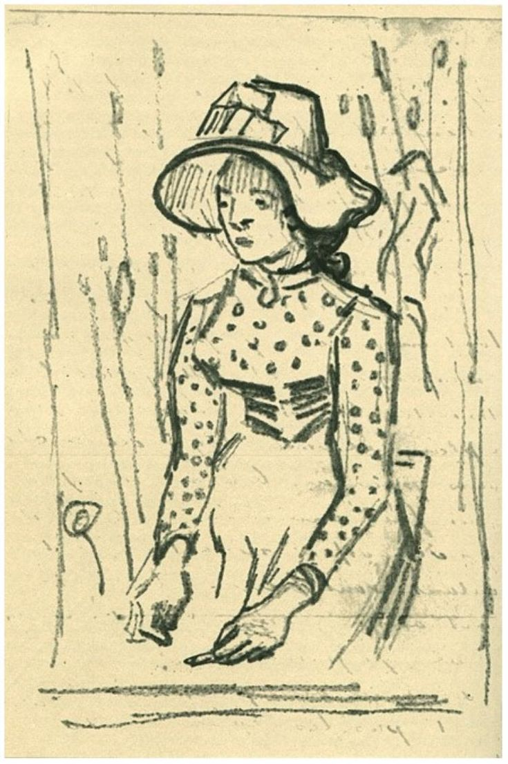 Girl with Straw Hat, Sitting in the Wheat by Vincent van Gogh  Letter Sketches,   Auvers-sur-Oise: 1-Jul, 1890 http://www.vangoghgallery.com/catalog/Letter%20Sketches/1986/Girl-with-Straw-Hat,-Sitting-in-the-Wheat.html