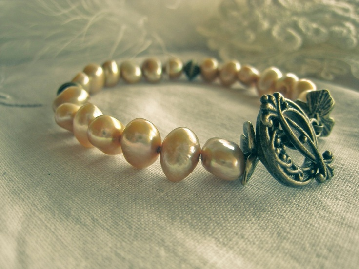 Champagne colour freshwater pearl bracelet  on antique brass plated