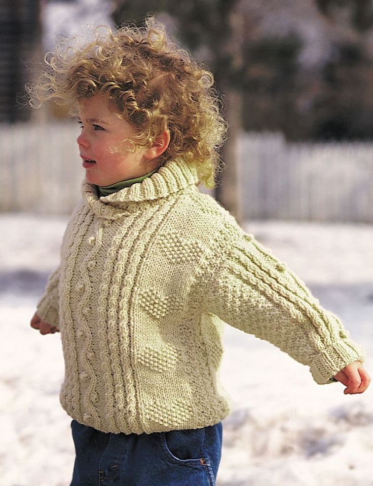 FREE PATTERN..Yarnspirations.com - Patons Cables and Hearts Child's Pullover  | Yarnspirations