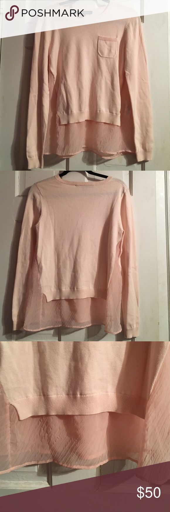 French Connection sweater Super cute light pink french connections sweater with silk looking trim French Connection Sweaters Crew & Scoop Necks