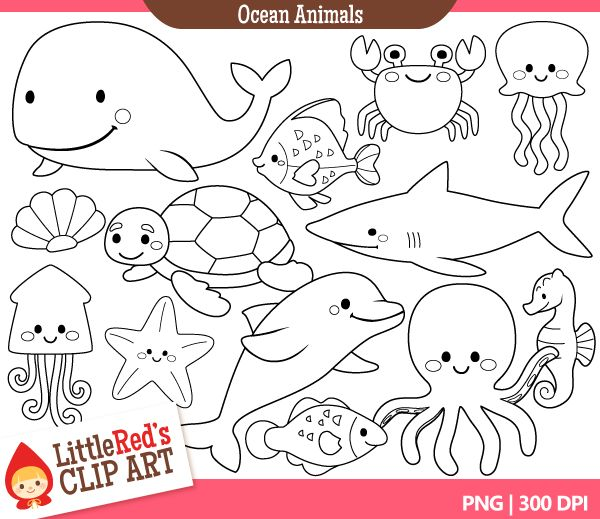 Line Drawing Of Water Animals : Best images about clip art on pinterest