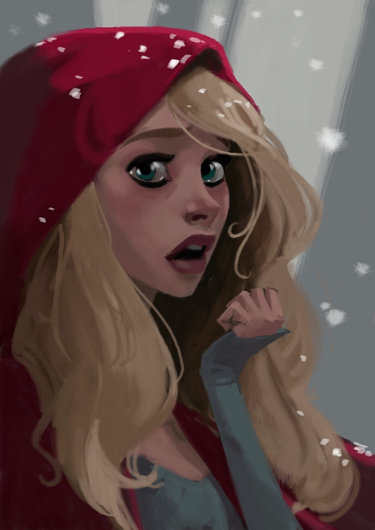 Stunning girl illustration. blonde girl, red , green eyes, story, snow, Little Red Hood, long hair ★ Find more at http://www.pinterest.com/competing/